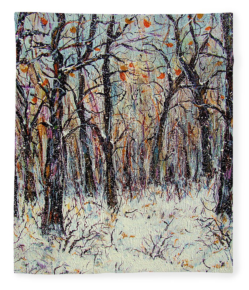 Landscape Fleece Blanket featuring the painting Snowing In The Forest by Natalie Holland
