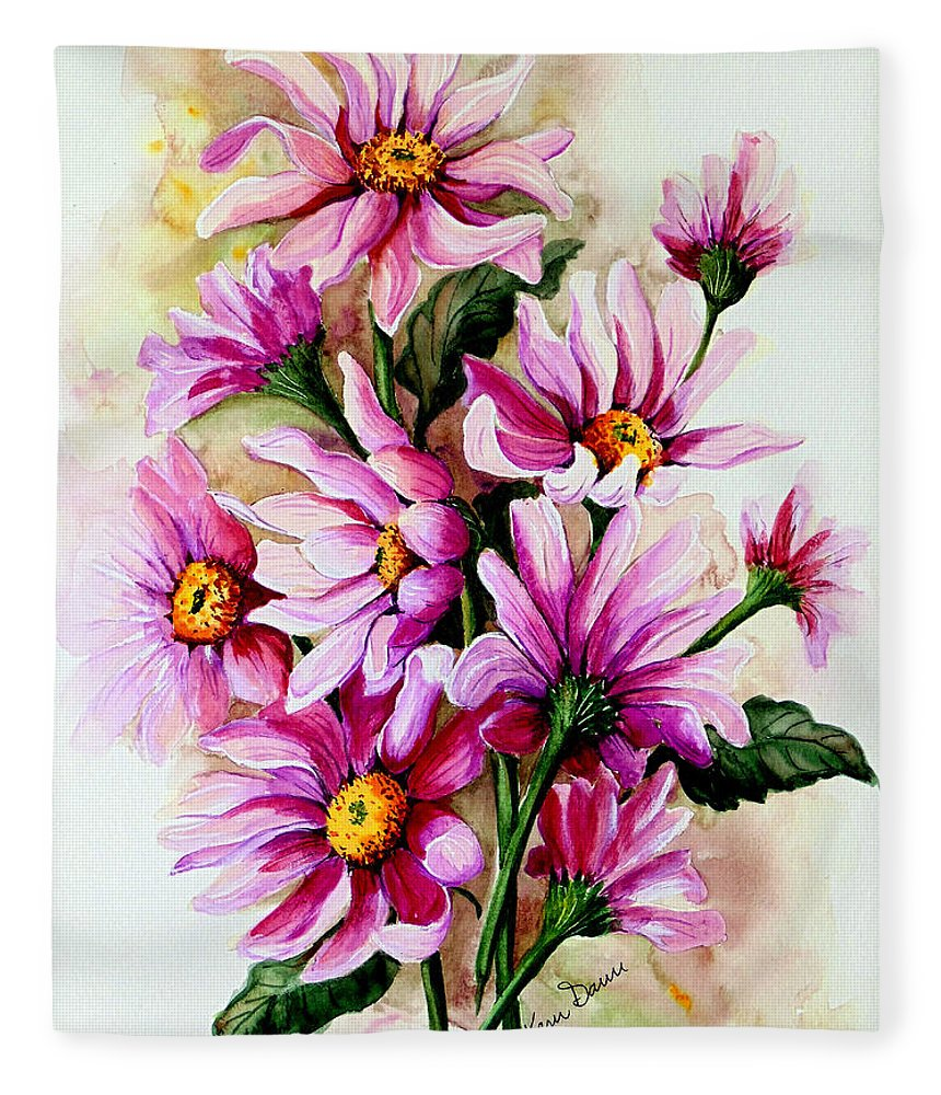 Pink Daisy Floral Painting Flower Painting Botanical Painting Bloom Painting Greeting Card Painting Fleece Blanket featuring the painting So Pink by Karin Dawn Kelshall- Best