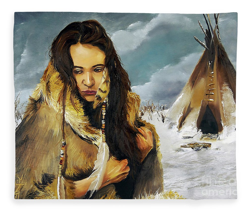 Southwest Art Fleece Blanket featuring the painting Solitude by J W Baker