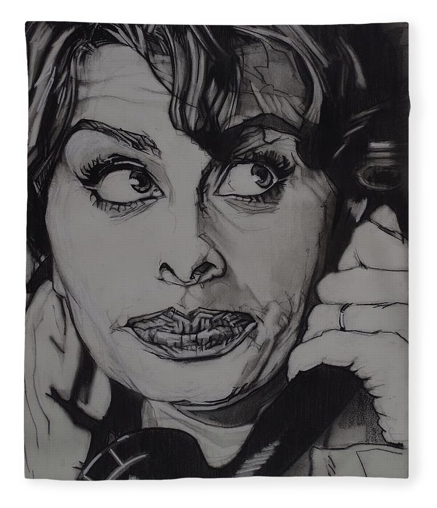 Charcoal On Paper Fleece Blanket featuring the drawing Sophia Loren Telephones by Sean Connolly