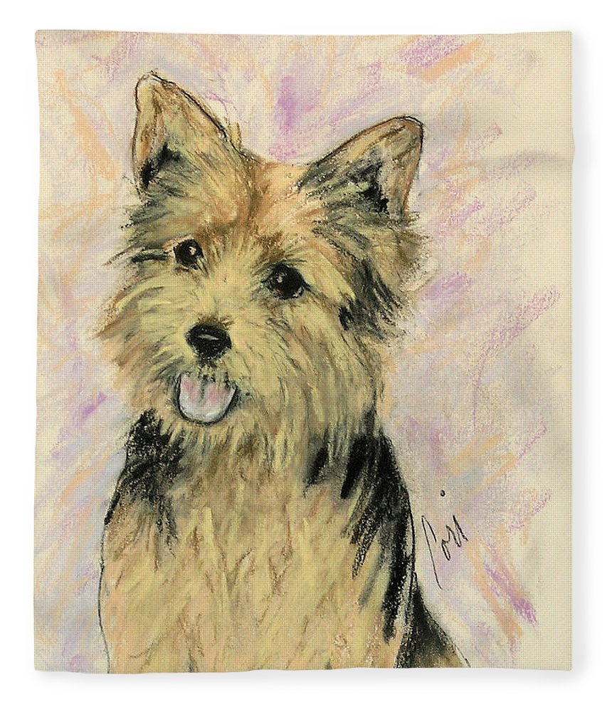Dog Fleece Blanket featuring the drawing Soulmate by Cori Solomon