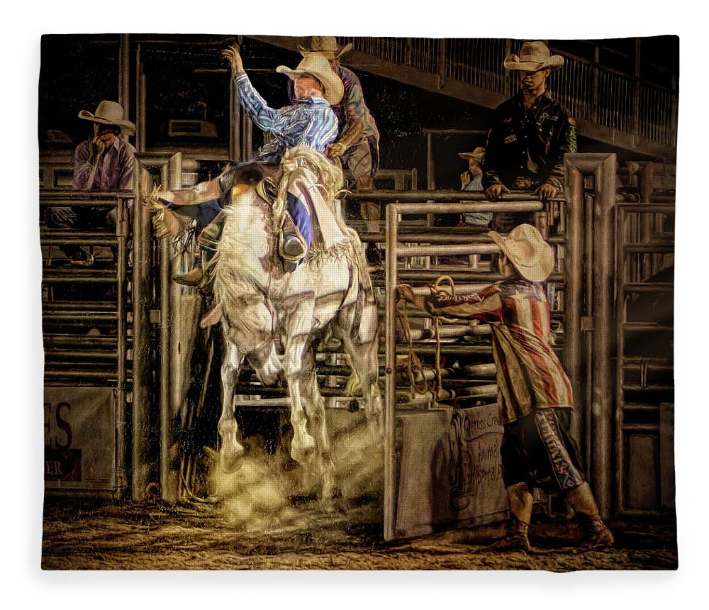 Rodeo Fleece Blanket featuring the digital art Spotlight by Linda Lee Hall