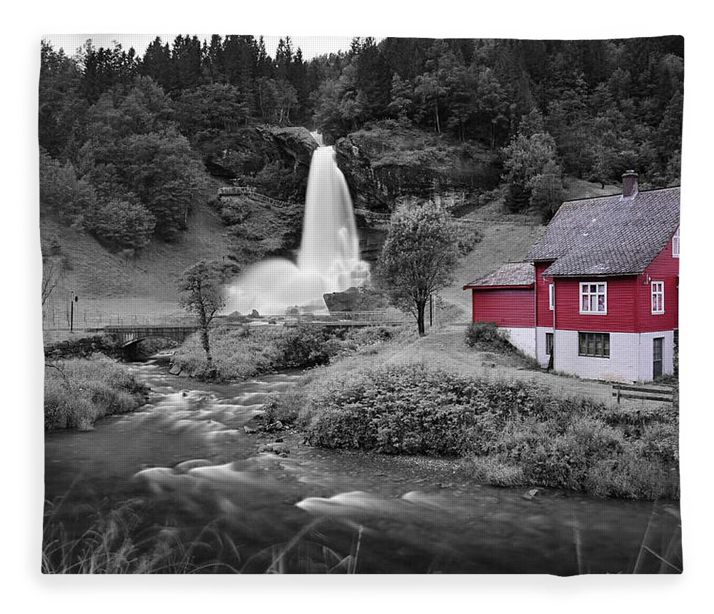 Fleece Blanket featuring the photograph Steinsdalsfossen by Pop