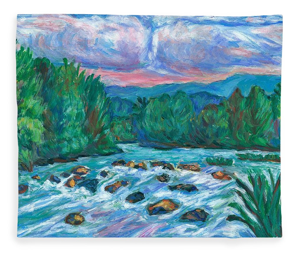 Landscape Fleece Blanket featuring the painting Stepping Stones on the New River by Kendall Kessler