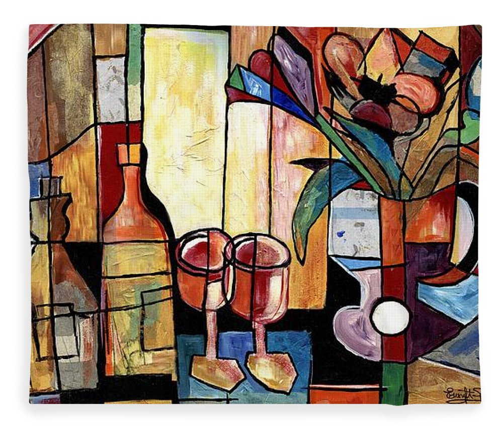 Everett Spruill Fleece Blanket featuring the painting Still Life with Wine and Flowers for two take 2 by Everett Spruill