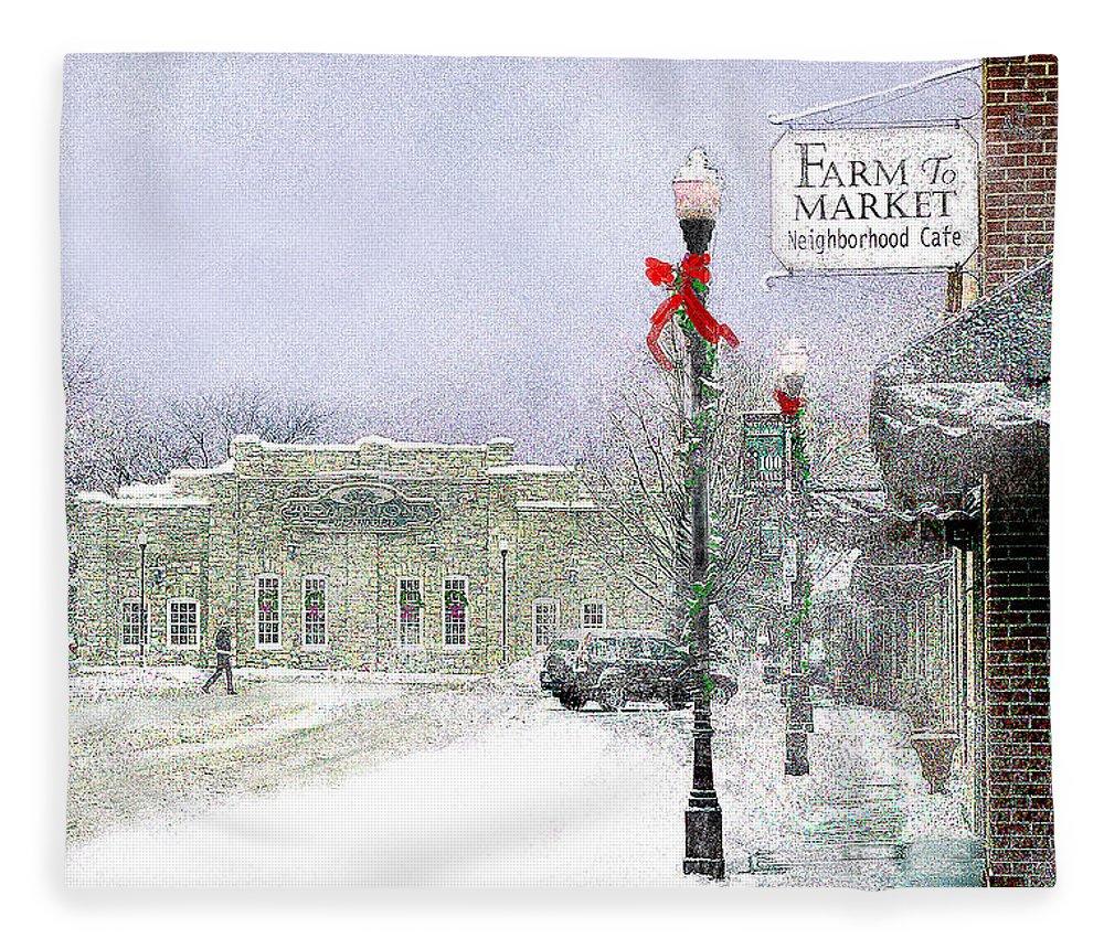Snow Scene Fleece Blanket featuring the photograph Strang Car Barn in Winter by Steve Karol