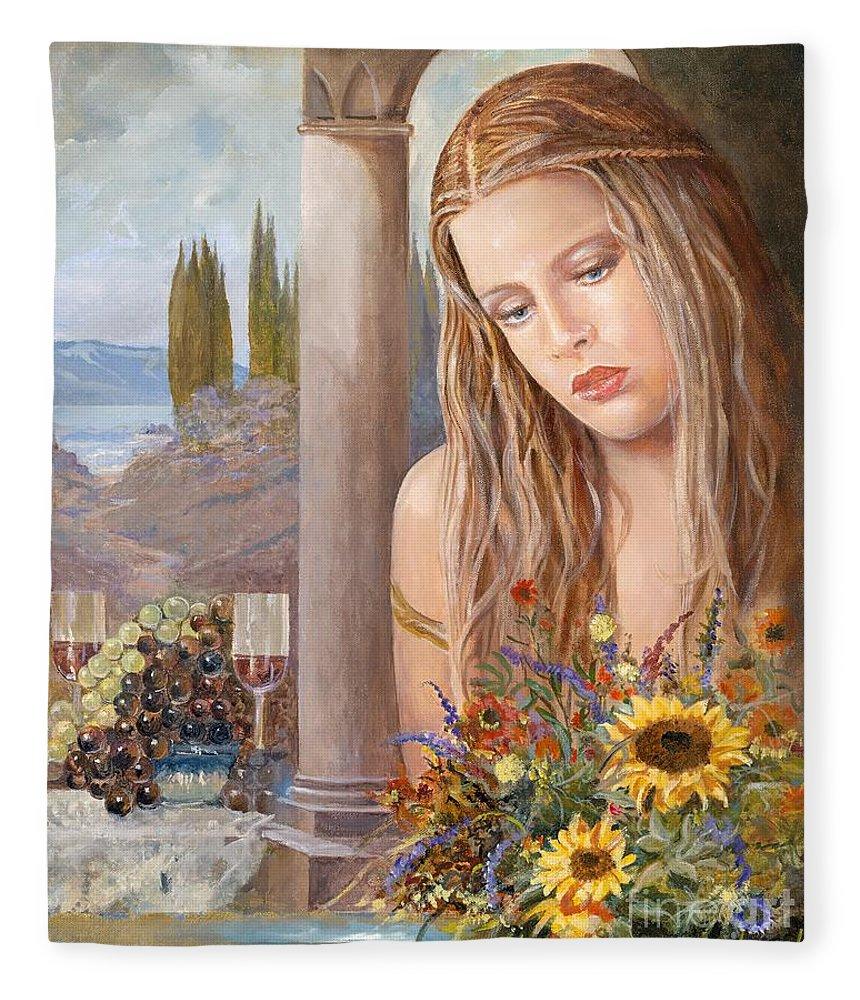 Portrait Fleece Blanket featuring the painting Summer Day by Sinisa Saratlic