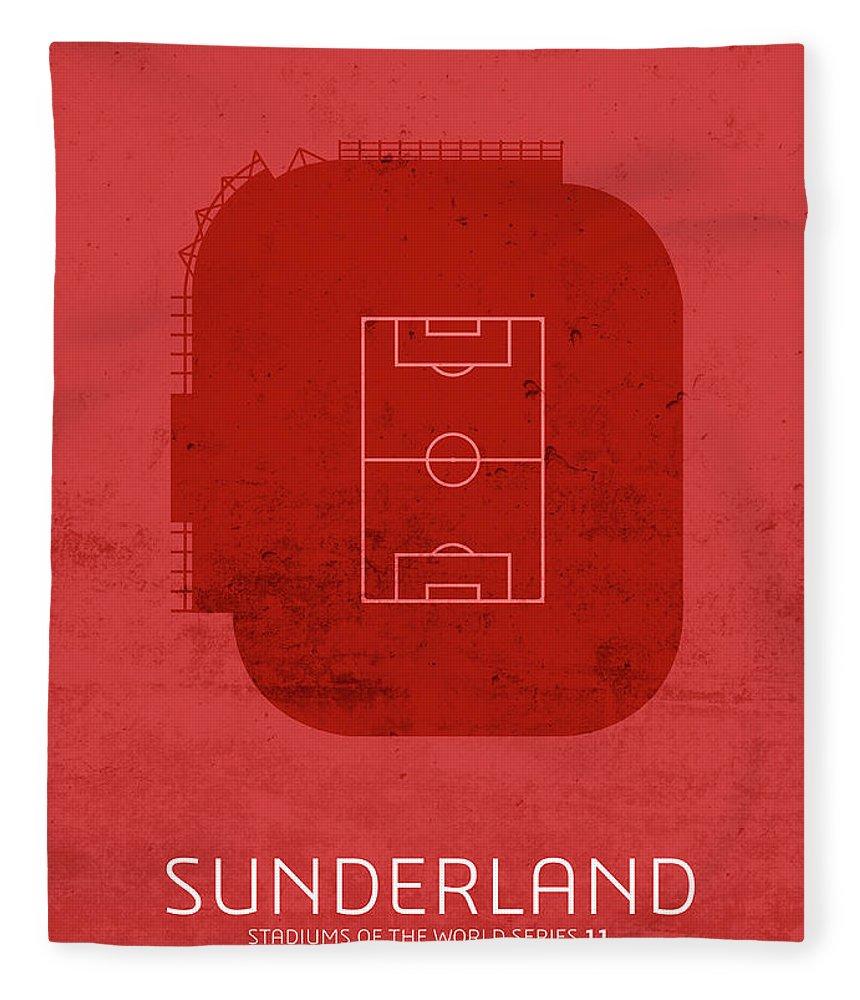 Sunderland Fleece Blanket featuring the mixed media Sunderland Sports Stadium Minimalist Football Soccer Series by Design Turnpike