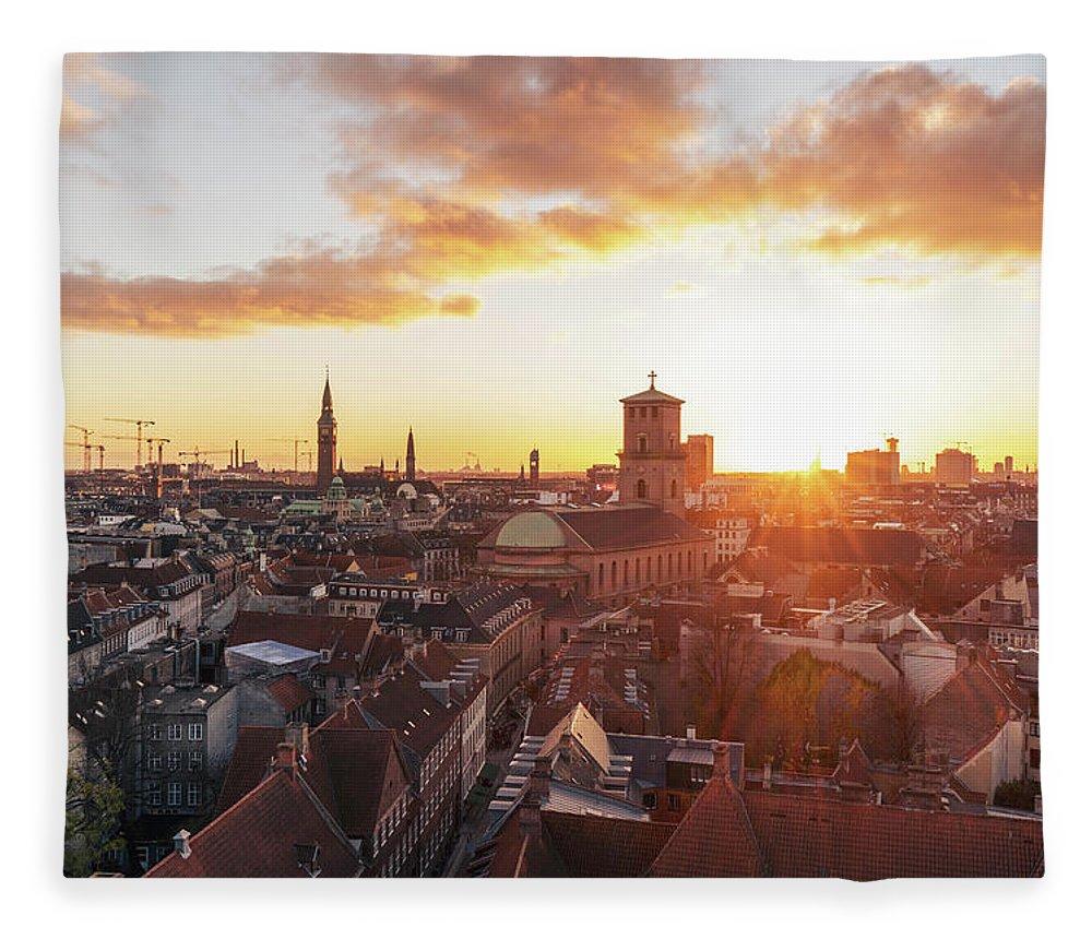 City Fleece Blanket featuring the photograph Sunset above Copenhagen by Hannes Roeckel