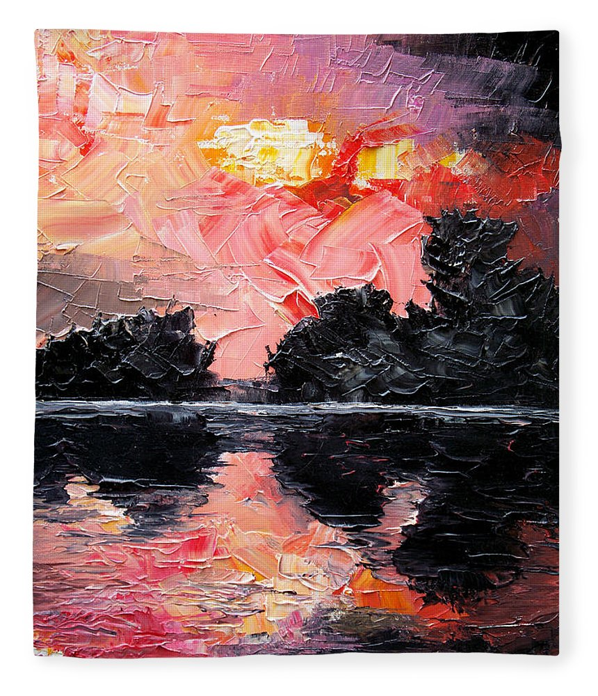 Lake After Storm Fleece Blanket featuring the painting Sunset. After storm. by Sergey Bezhinets