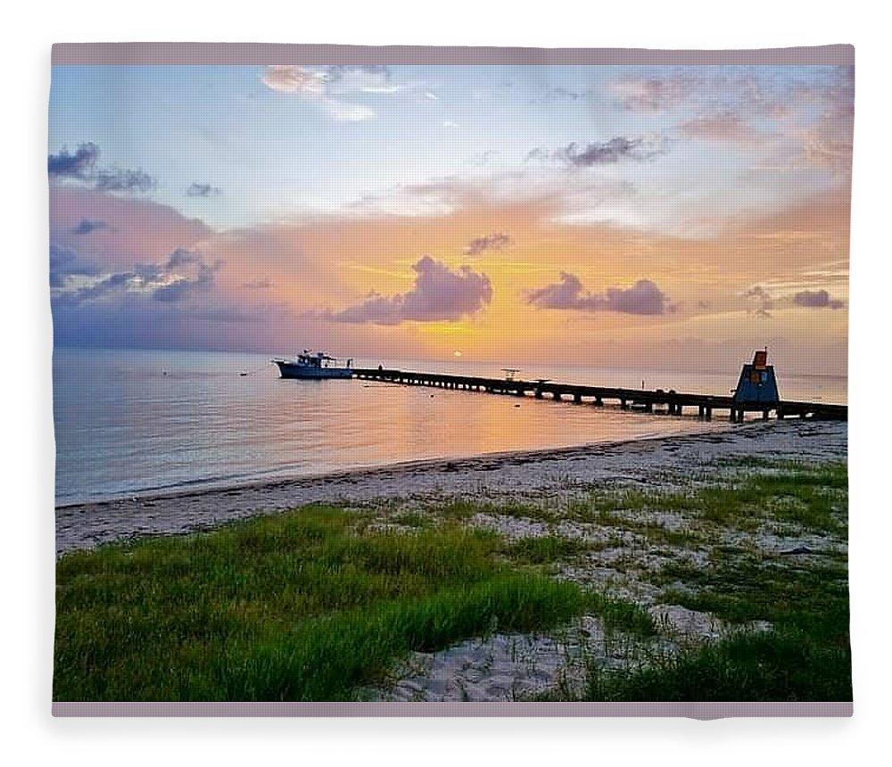 Sunset Fleece Blanket featuring the photograph Sunset at the beach by De Aventureo