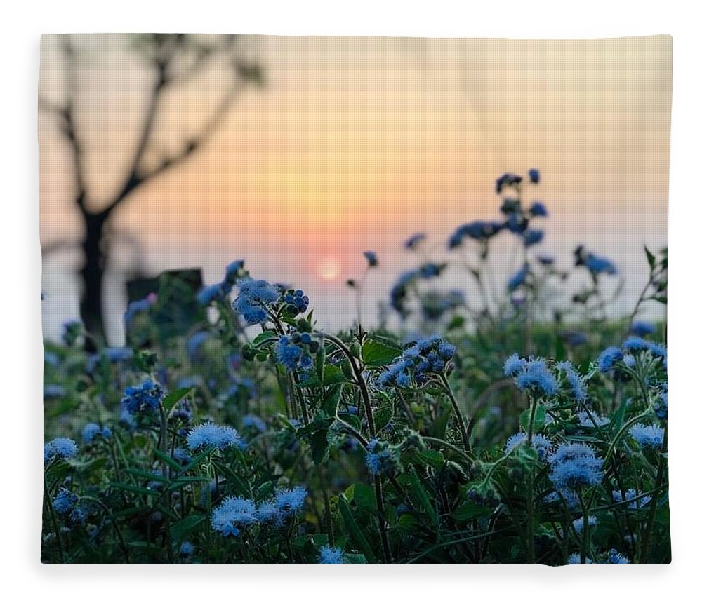 Flowers Fleece Blanket featuring the photograph Sunset Behind Flowers by Prashant Dalal