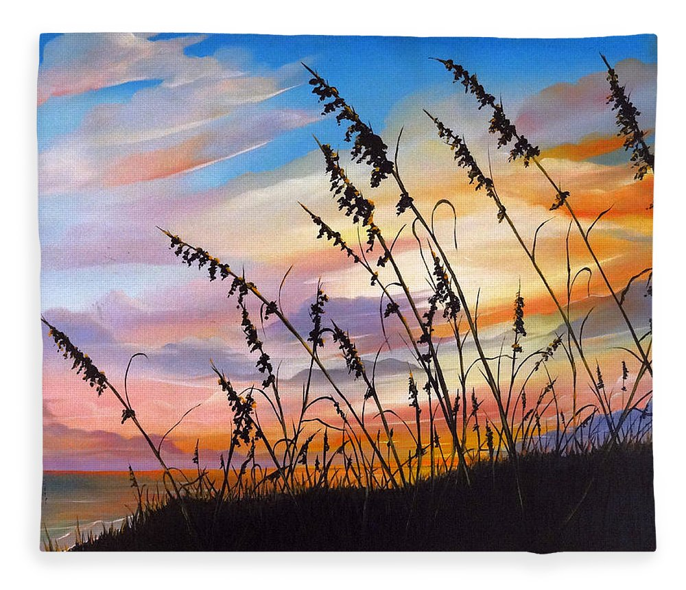 Ocean Painting Fleece Blanket featuring the painting Sunset Fort Desoto Beach by Karin Dawn Kelshall- Best