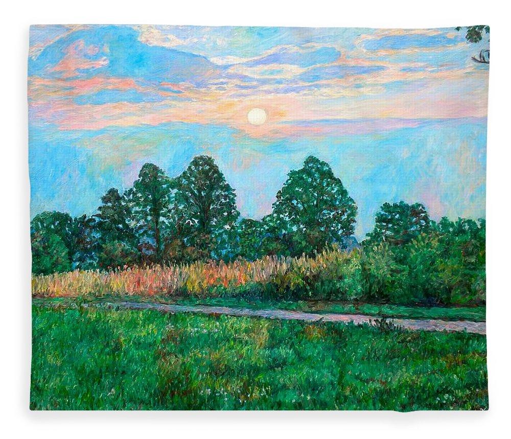 Kendall Kessler Fleece Blanket featuring the painting Sunset Near Fancy Gap by Kendall Kessler