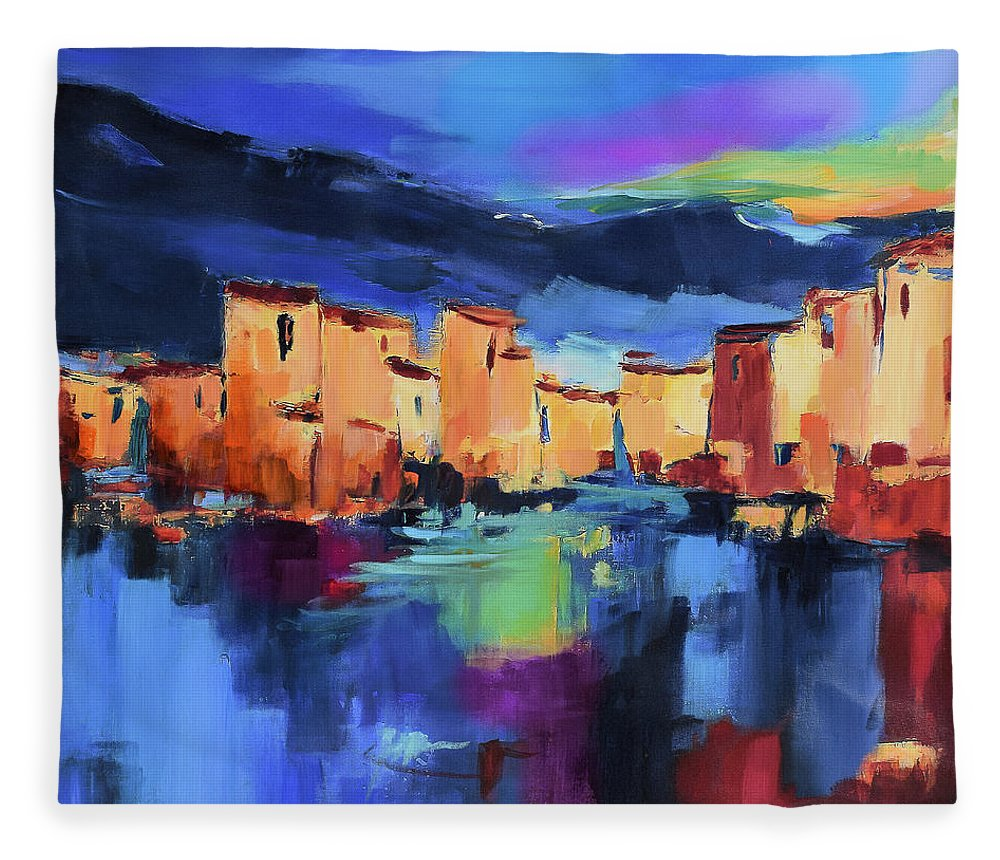 Cinque Terre Fleece Blanket featuring the painting Sunset Over the Village by Elise Palmigiani
