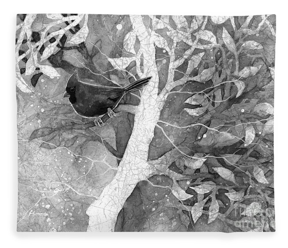 Cardinal Fleece Blanket featuring the painting Sweet Memories II in Black and White by Hailey E Herrera
