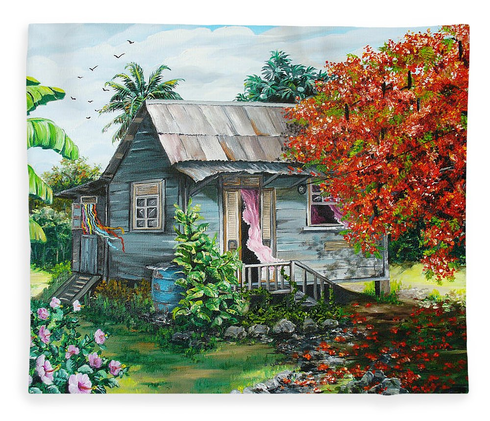 Caribbean Painting Original Painting Trinidad And Tobago ..house Painting Flamboyant Tree Painting Red Blossoms Painting Floral Painting Tree Painting Tropical Painting Fleece Blanket featuring the painting Sweet Tobago Life. 2 by Karin Dawn Kelshall- Best
