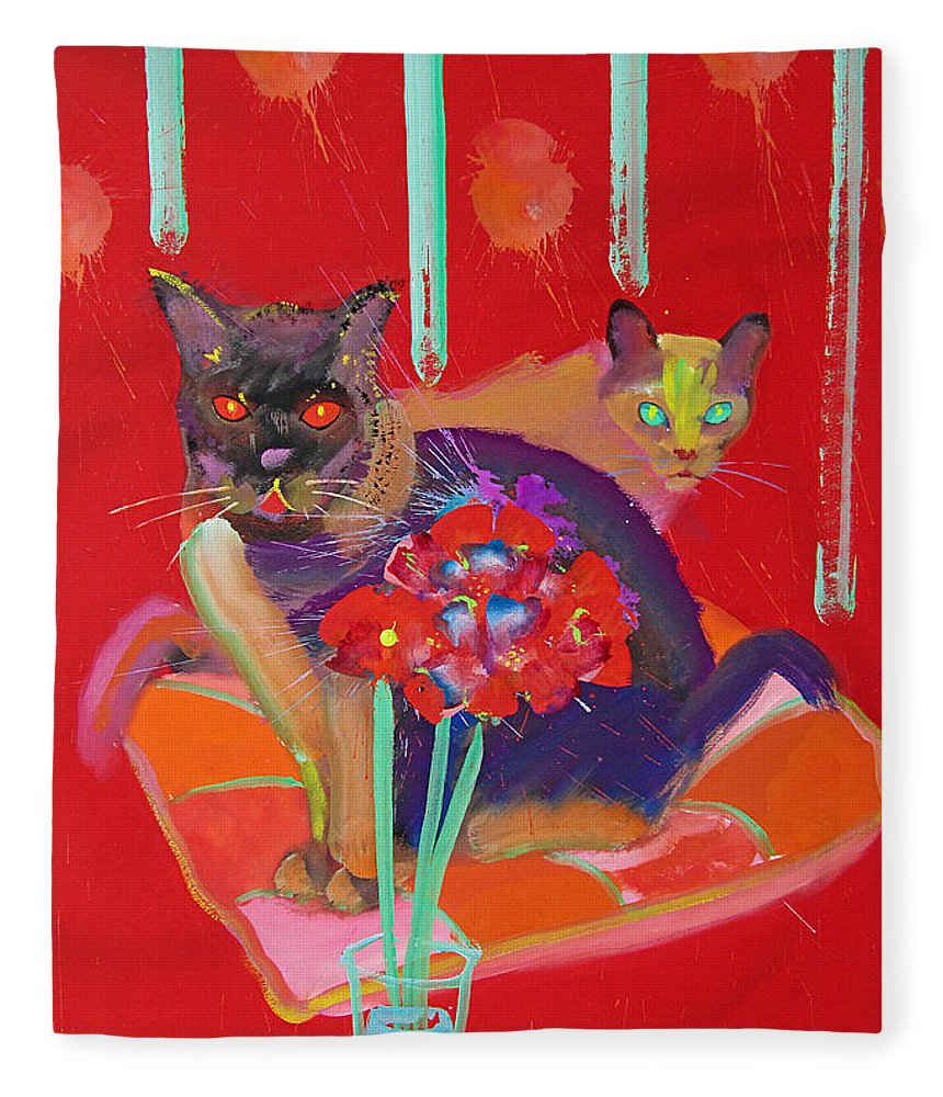 Burmese Cat Fleece Blanket featuring the painting Symphony In Red Two by Charles Stuart