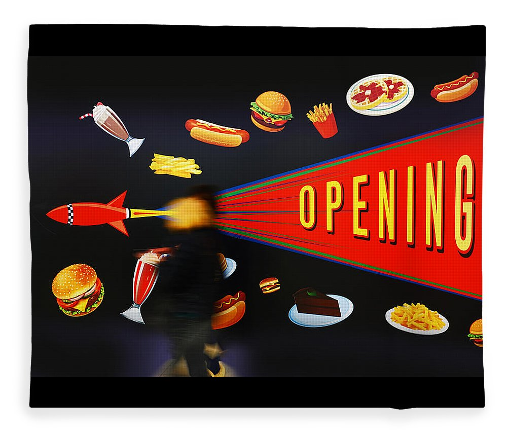 Opening Up The Diner Fleece Blanket featuring the painting Take Out Take Off by Charles Stuart