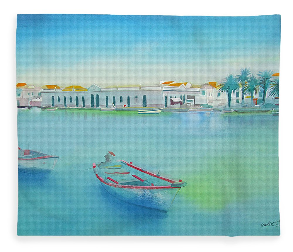 Boat Fleece Blanket featuring the painting Tavira Portugal the Old Market by Charles Stuart