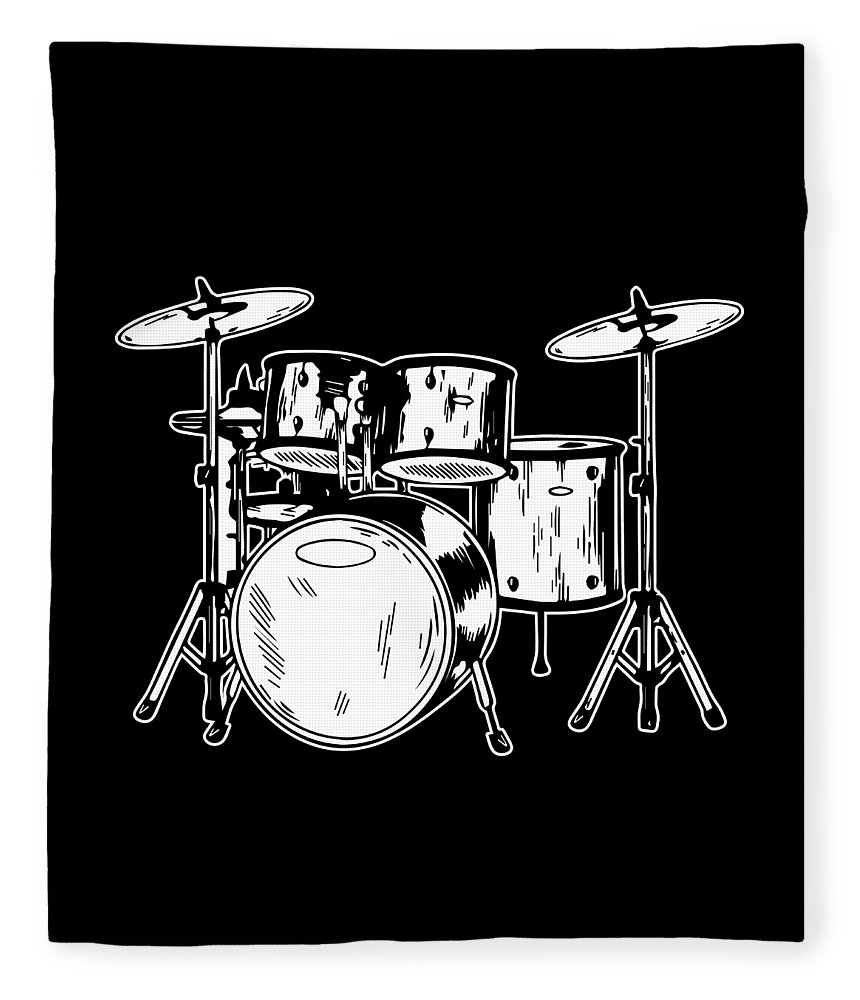 Drummer Fleece Blanket featuring the digital art Tempo Music Band Percussion Drum Set Drummer Gift by Haselshirt