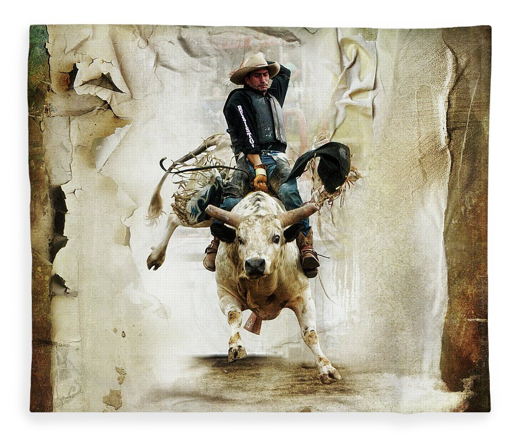 Bull Fleece Blanket featuring the digital art The Bull Rider by Linda Lee Hall