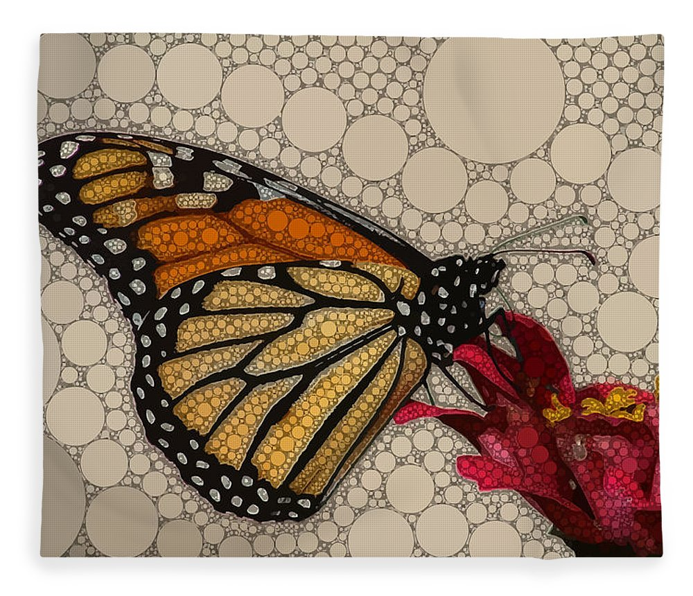 Brown Fleece Blanket featuring the digital art The Circular Monarch by Dahl Winters