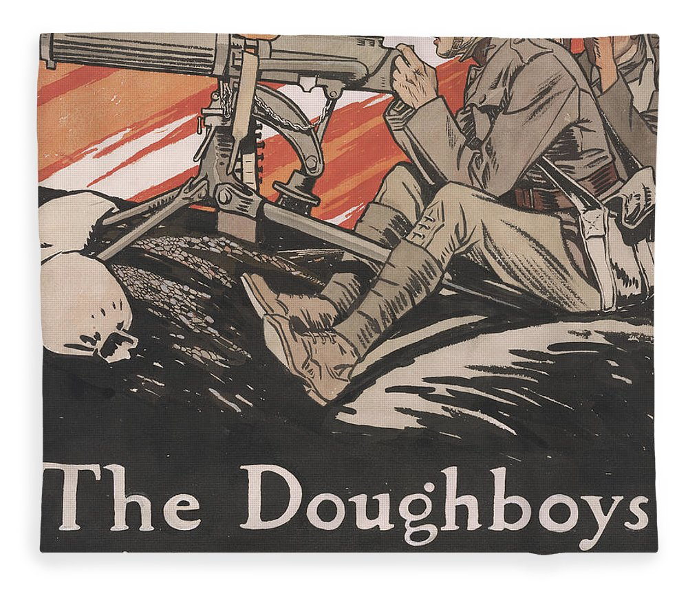 Doughboys Fleece Blanket featuring the painting The Doughboys make Good, 1918 by Edward Penfield