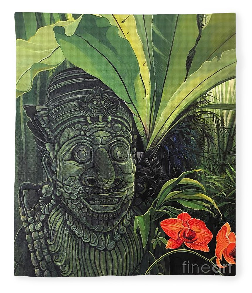 Statue Fleece Blanket featuring the painting The Fallen Idol by Hunter Jay