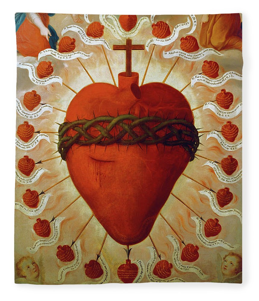 Feast Fleece Blanket featuring the painting The Feast Of The Sacred Heart Of Jesus, 1747 by Fray Miguel de Herrera