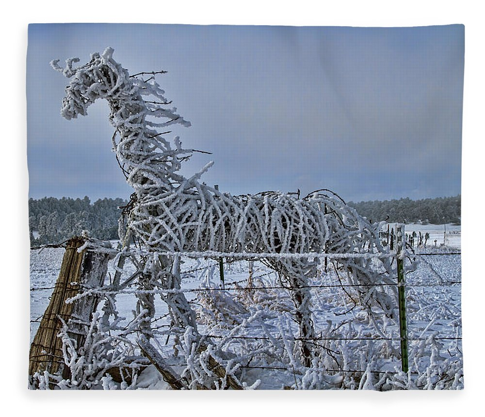 Abstract Fleece Blanket featuring the photograph The Fence Becomes The Horse by Alana Thrower