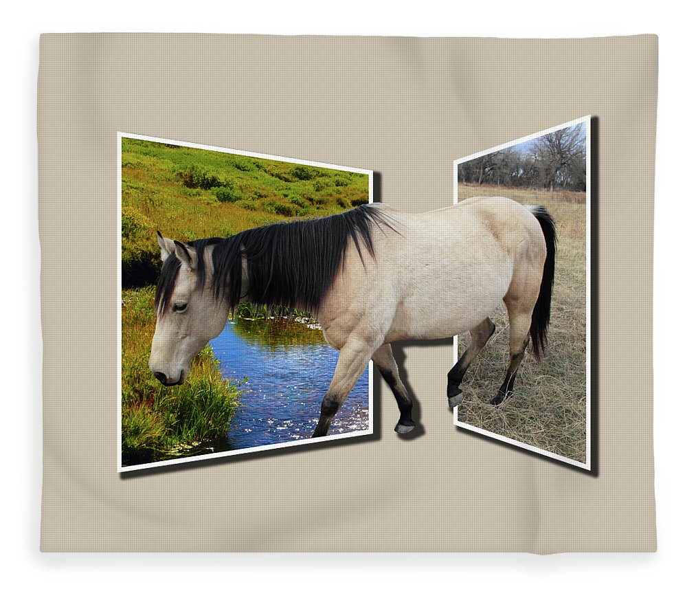Horse Fleece Blanket featuring the photograph The Grass Is Always Greener On The Other Side by Shane Bechler