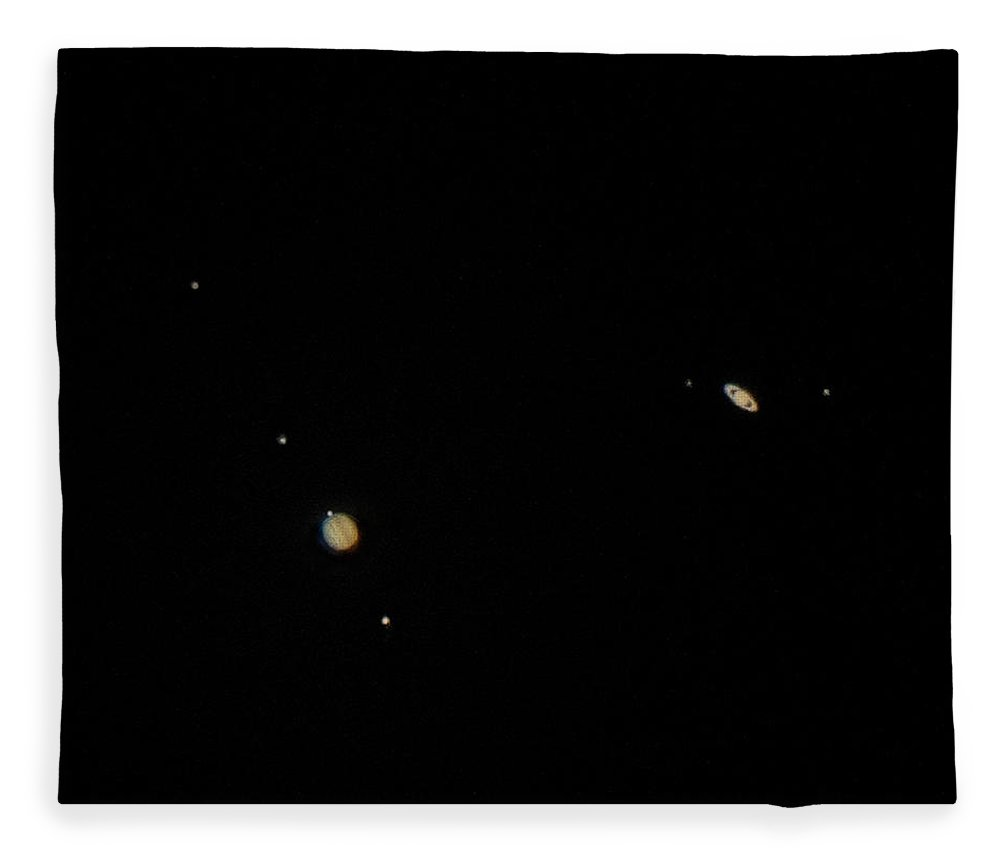 Jupiter Fleece Blanket featuring the photograph The Great Conjunction by Frank Delargy