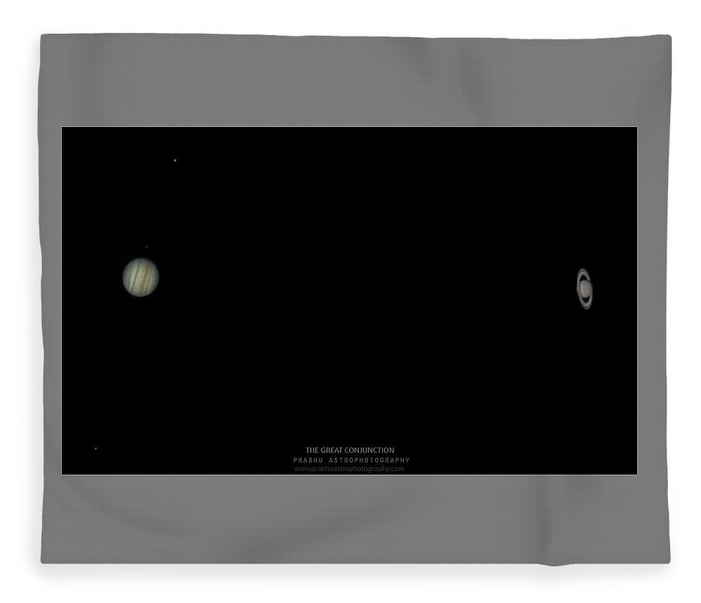 Fleece Blanket featuring the photograph The Great Conjunction of Jupiter and Saturn by Prabhu Astrophotography