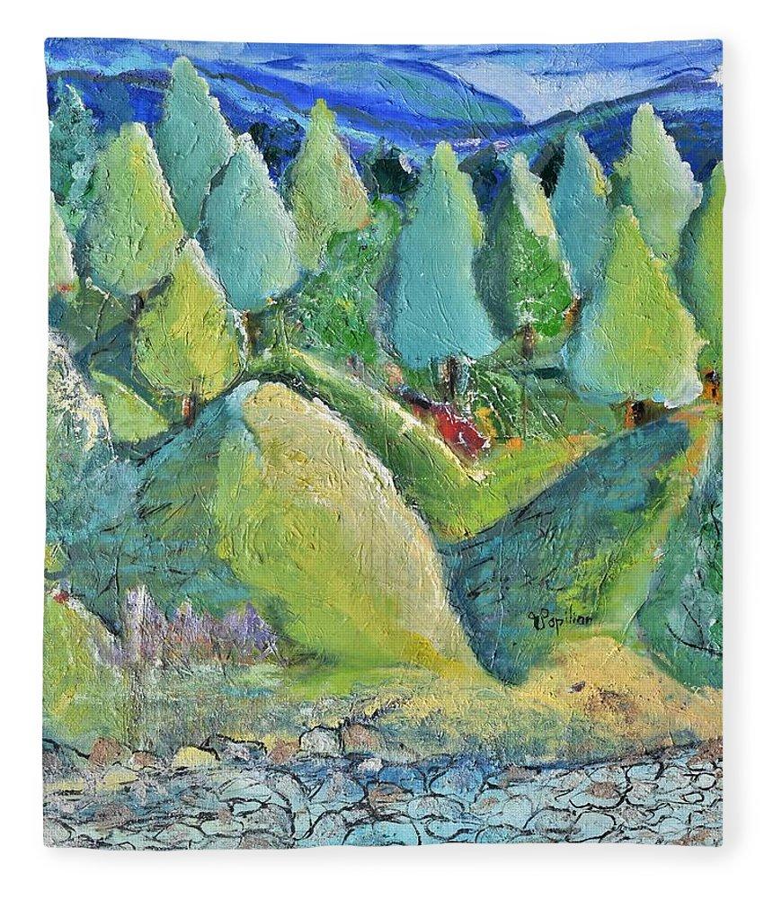 The Green Hills Fleece Blanket For Sale By Evelina Popilian