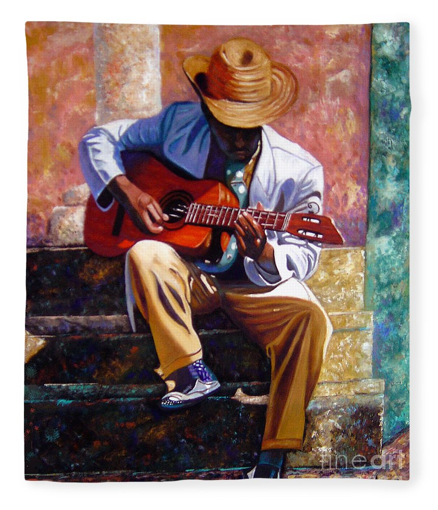 Cuban Art Fleece Blanket featuring the painting The Guitar Player by Jose Manuel Abraham