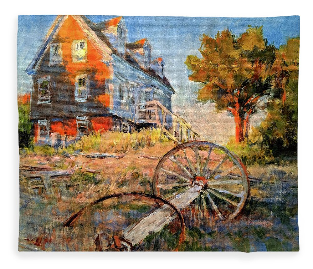 Cape Cod Fleece Blanket featuring the painting The Old Silva Place No. 2 by Peter Salwen