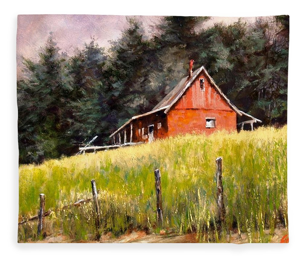 Landscape Fleece Blanket featuring the painting The Red Coach Stop by Jim Gola