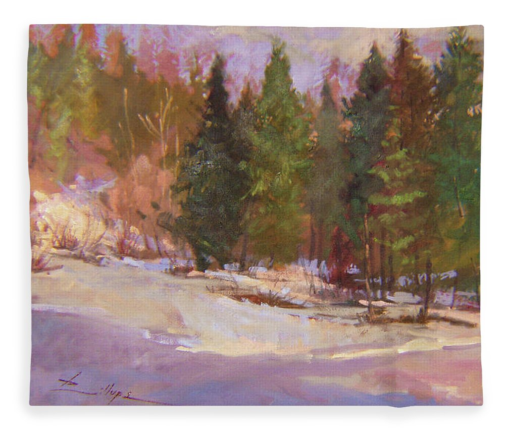 Plein Air Painting Fleece Blanket featuring the painting The Road Home Plein Air by Betty Jean Billups
