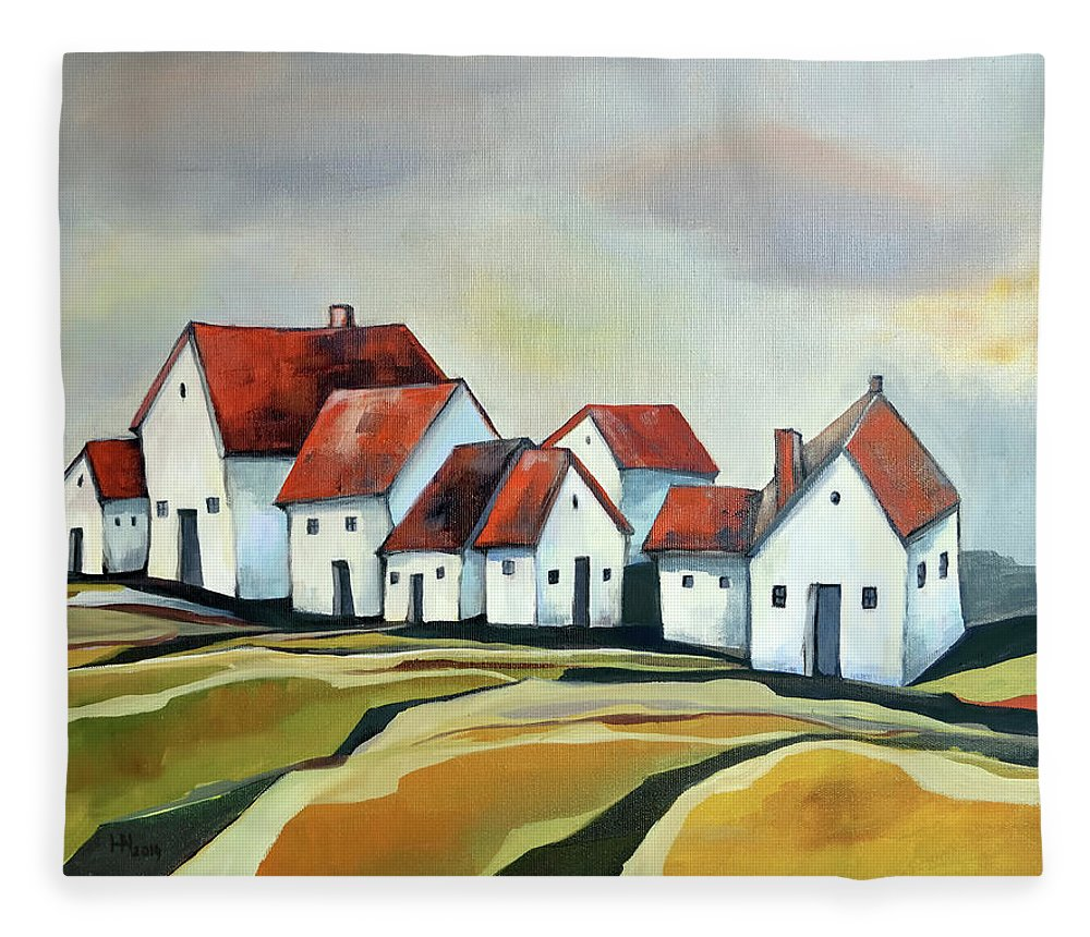 Village Fleece Blanket featuring the painting The smallest village by Aniko Hencz