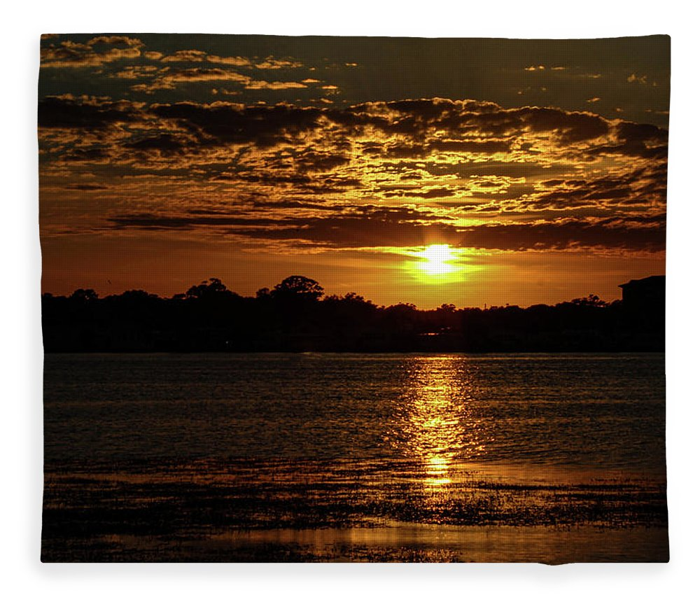 Sunset Fleece Blanket featuring the photograph The Sunset over the Lake by Daniel Cornell