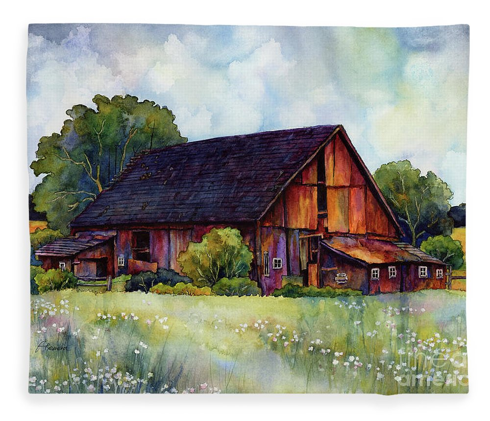 Barn Fleece Blanket featuring the painting This Old Barn by Hailey E Herrera