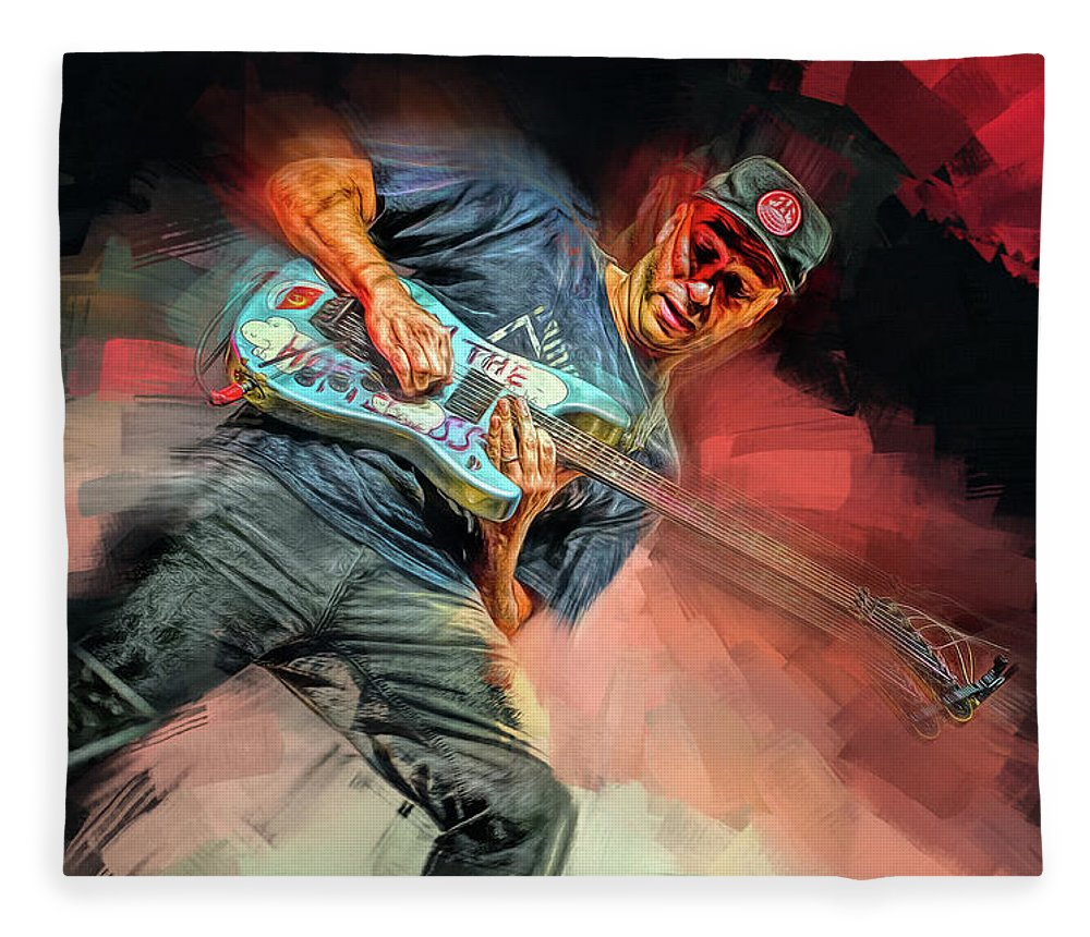 Tom Morello Fleece Blanket featuring the mixed media Tom Morello by Mal Bray