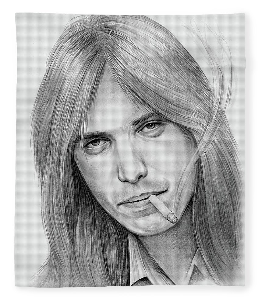 Tom Petty Fleece Blanket featuring the drawing Tom Petty - Pencil by Greg Joens