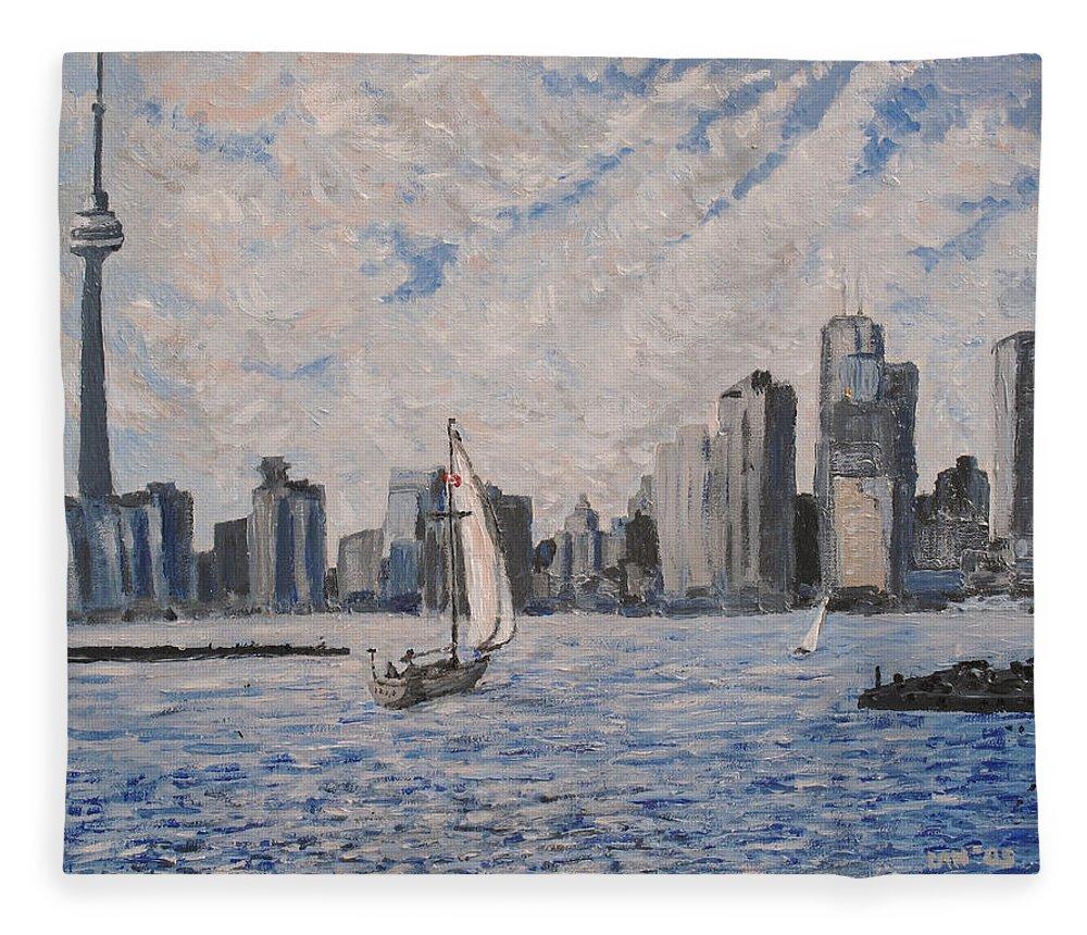Toronto Fleece Blanket featuring the painting Toronto Harbor East Gap by Ian MacDonald