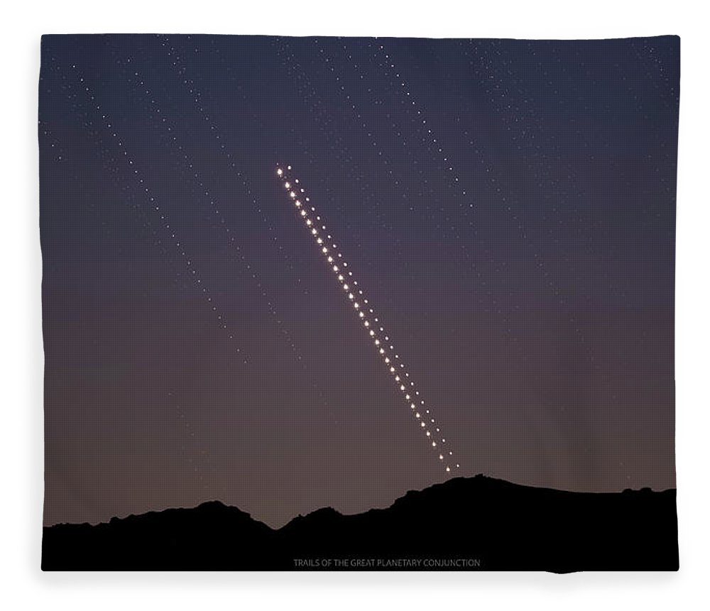 Fleece Blanket featuring the photograph Trails of the Great Planetary Conjunction by Prabhu Astrophotography