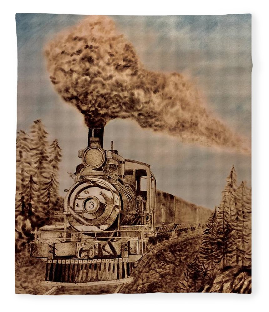 Train Fleece Blanket featuring the pyrography Train by Forrest Fortier