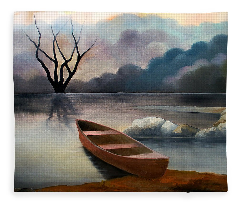 Duck Fleece Blanket featuring the painting Tranquility by Sergey Bezhinets