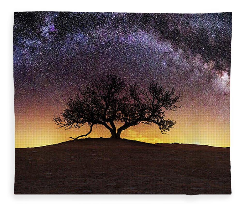 Milky Way Fleece Blanket featuring the photograph Tree of Wisdom by Aaron J Groen