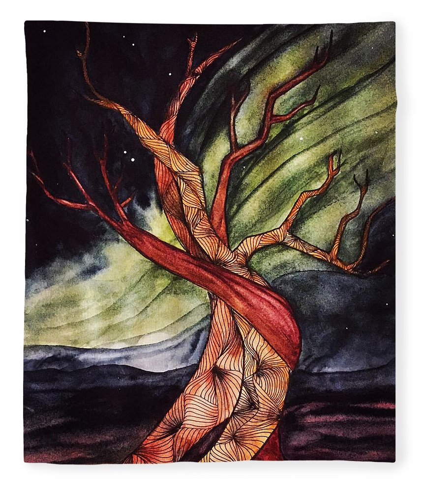 Tree Fleece Blanket featuring the painting Tree with Northern Lights by Vonda Drees